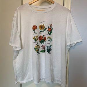 Flower Design Oversized T-Shirt